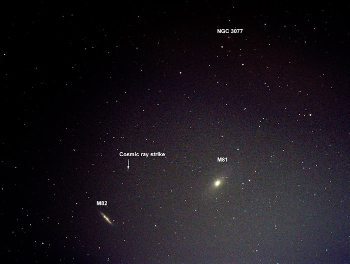 "Chú thích của ông : ""M81, Bode's Galaxy on the right, M82, Cigar Galaxy on the left. This pair of galaxies in Ursa Major is about 11.5 million light years away. M81 is a spiral, M82 an irregular. Note the faint obscure galaxy at the top (NGC 3077) and the cosmic ray strike on the CCD!"""