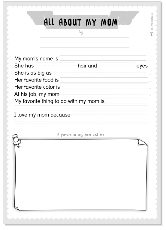 "Worksheet for Mother's Day ""All about my mom"" by Eva Barceló Marqués @evacreando"