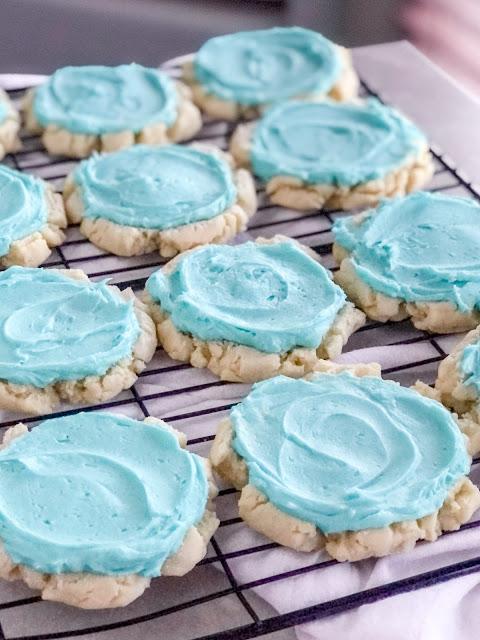 sugar cookies with aqua icing