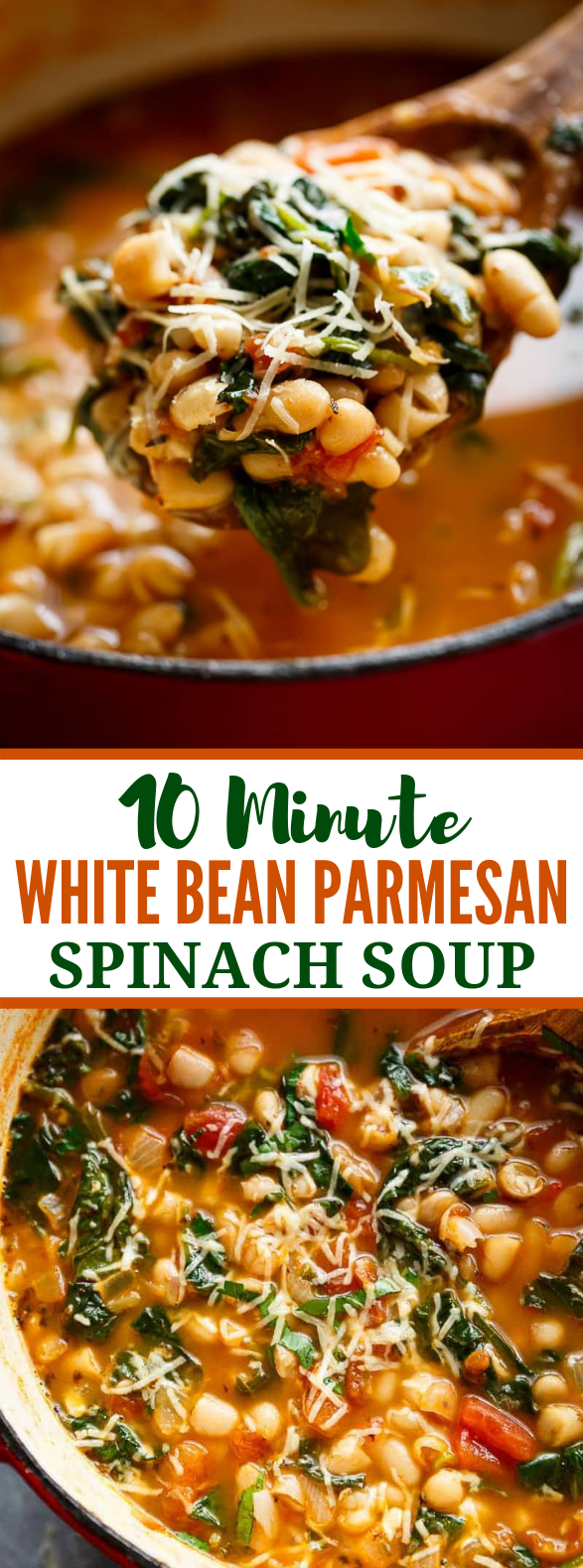 10-minute white bean soup with parmesan #vegetarian #soup
