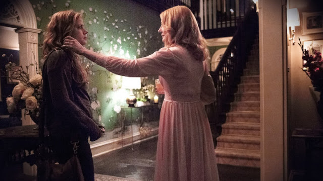 Image from HBO's Sharp Objects starring Amy Adams and Patricia Clarkson who is rarely seen without a drink in her hand