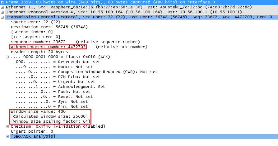 حجم نافذة Wireshark بعد صفر