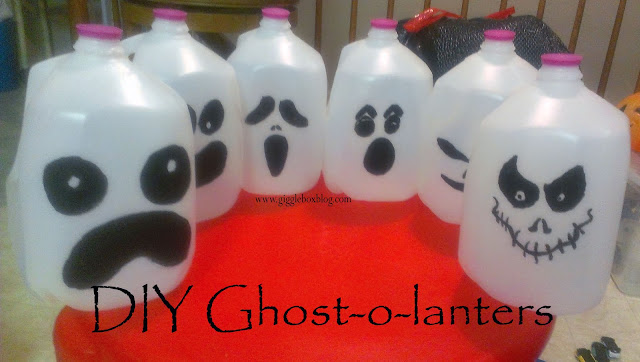 Halloween, Halloween decorations, ghost-o-lanterns, recycling gallon water jugs for Halloween decorations, simple way to light the pathway for trick-or-treat,