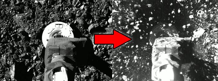 osiris-rex coleta amostras do asteroide bennu imagens