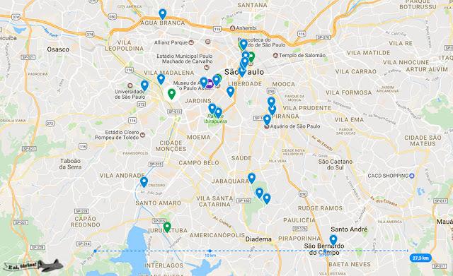 mapa das atrações de São Paulo