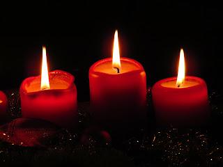 winter candles flickering