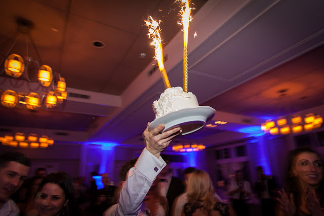 Sparklers in the cake at Jenna and Chad's Willow Ridge Country Club Wedding reception | Karen Hill Photography