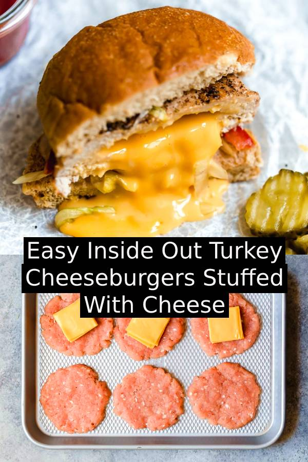 These juicy, Turkey Burgers Stuffed with cheese are simple and delicious! Instead of topping your turkey burger with cheese, they're stuffed it stays melted and gooey. #cheeseburgers #burger #turkey #turkeyrecipe #cheese #bestburgerrecipe #easyburgerrecipe