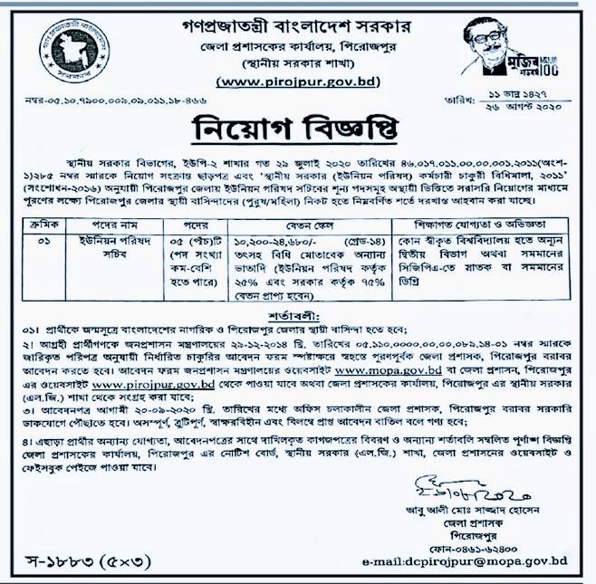 পিরোজপুর জেলা প্রশাসক কার্যালয়ে নিয়োগ