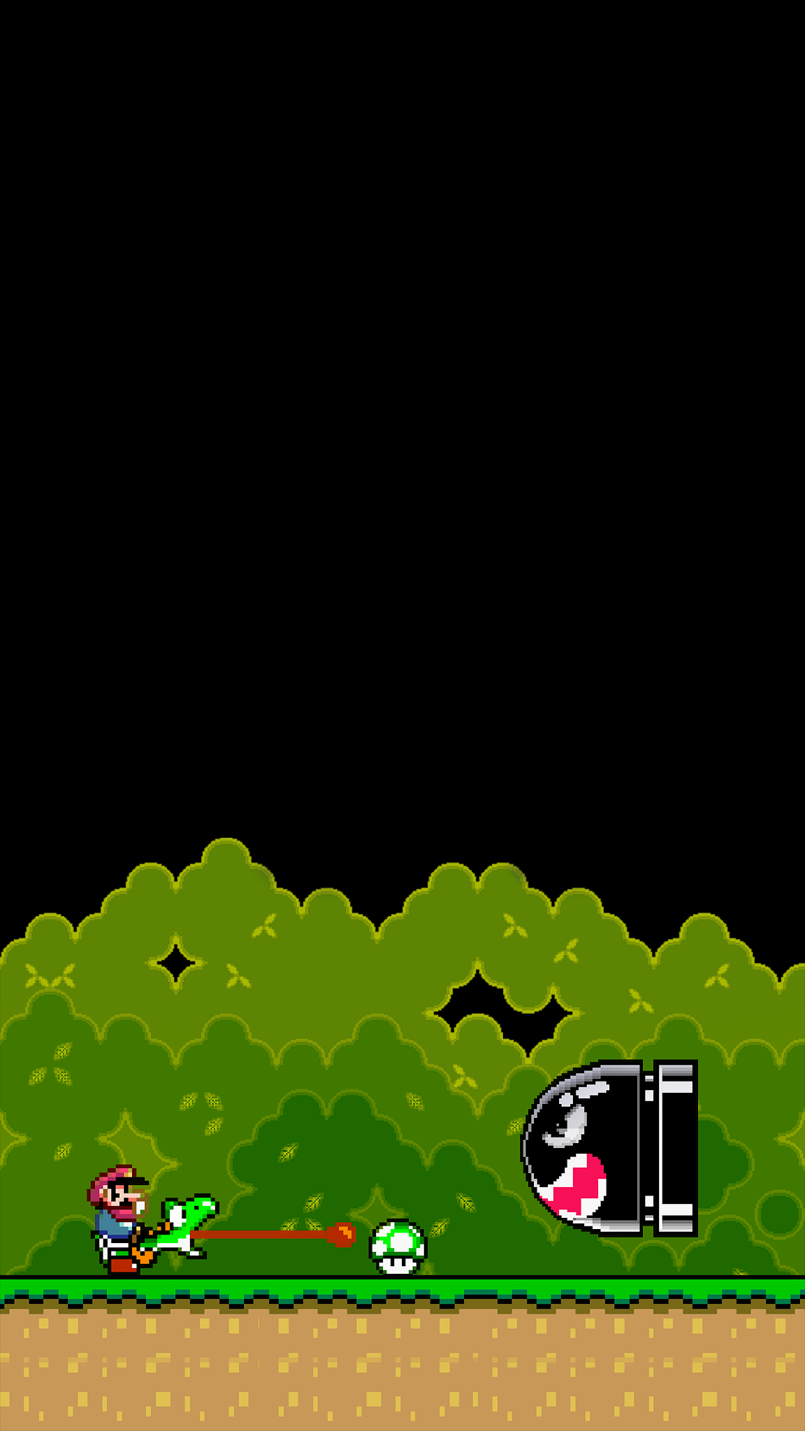 super mario world background for phone amoled black