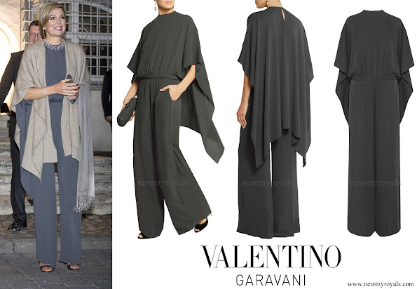 Queen Maxima wore Valentino Silk Cady Cape Jumpsuit