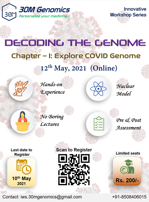 30M Genomics Online Workshop on Exploring COVID Genome | 12th May 2021