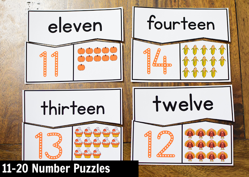 November Kindergarten Math Activity Center: 11-20 Number Puzzles