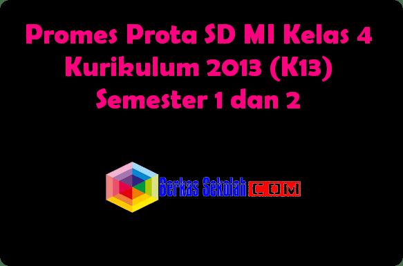 Promes Prota SD MI Kelas 4 Kurikulum 2013 Semester 1 dan 2