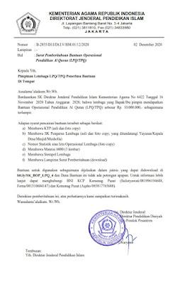 Daftar Penerima BOP TPQ/LPQ Tahap IV Tahun 2020