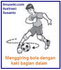 Gambar teknik dasar menggiring bola dengan kaki bagian dalam