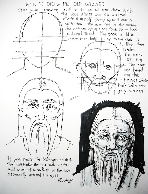 A worksheet for how to draw a wizard.