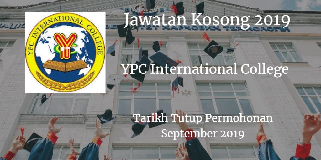 Jawatan Kosong YPC International College September 2019