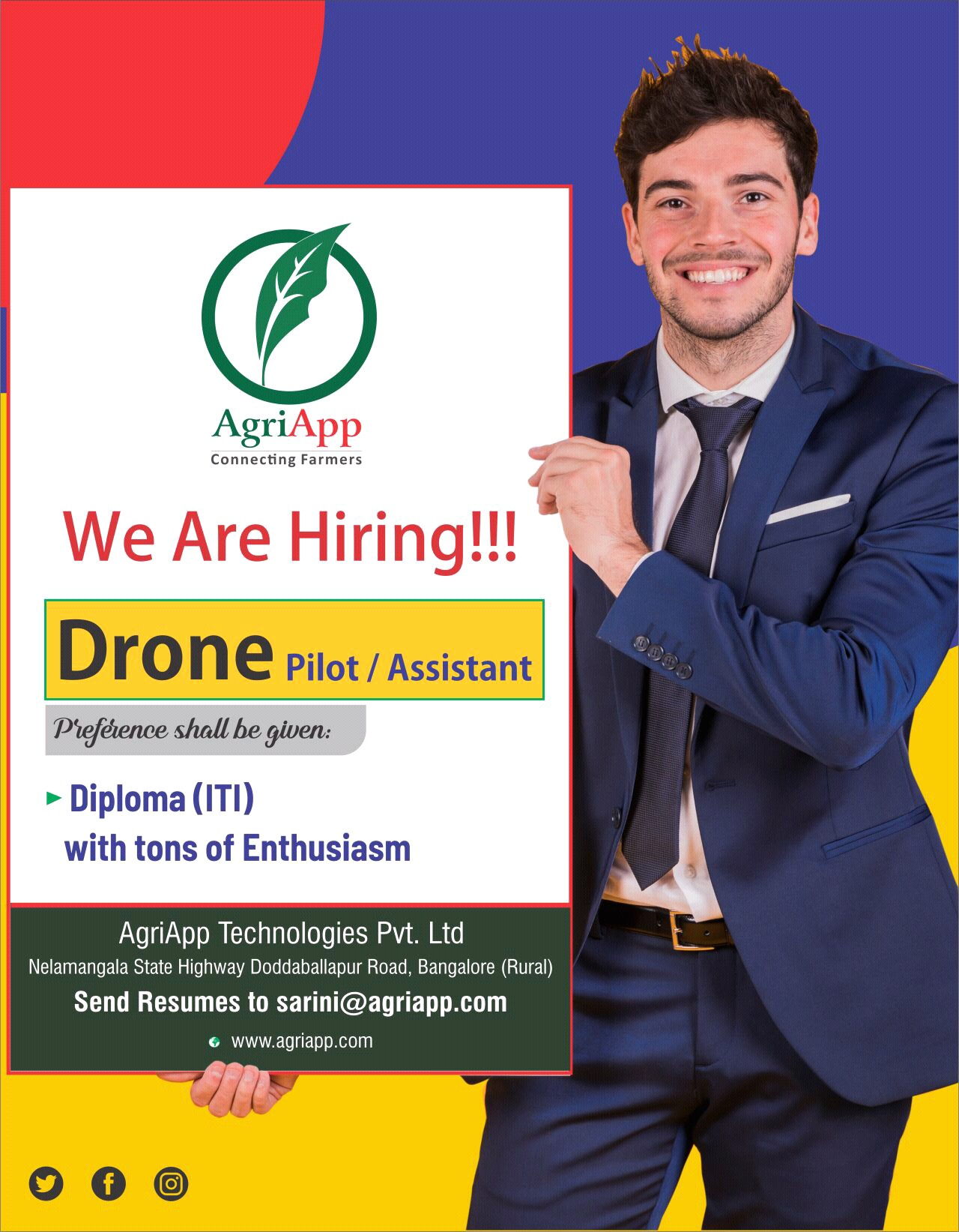 AgriApp Technologies Pvt. Ltd ITI and Diploma Background Candidates For Position  Drone Pilot & Assistant