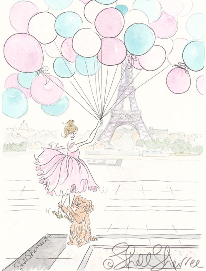 Up, Up and Away balloons in Paris illustration  © Shell Sherree all rights reserved