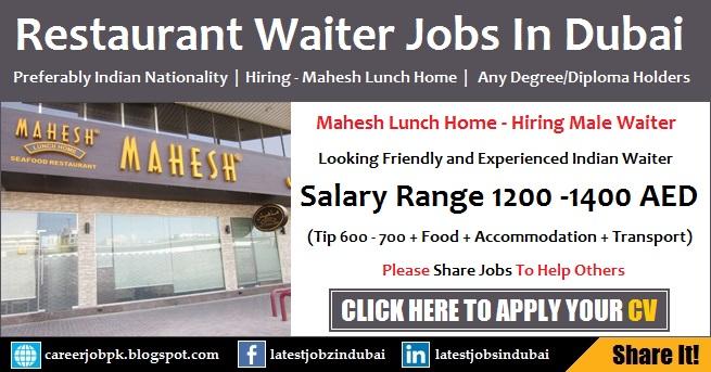Waiter Jobs in Dubai Restaurant for Indian