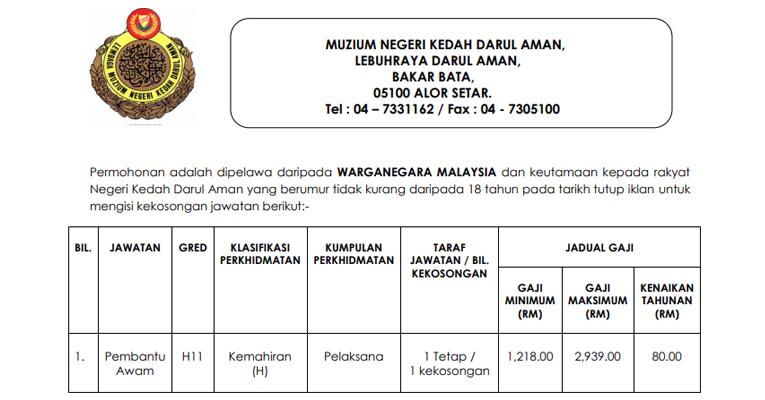 Jawatan Kosong di Muzium Negeri Kedah