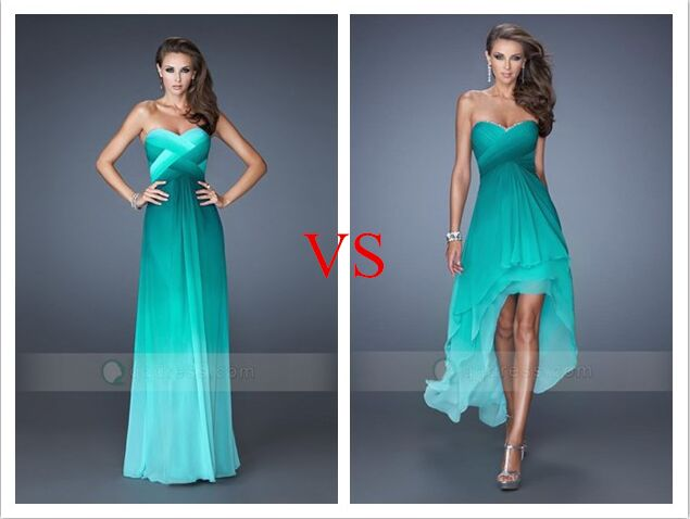 Ombre Pleated Long VS Short Prom Dress - Green