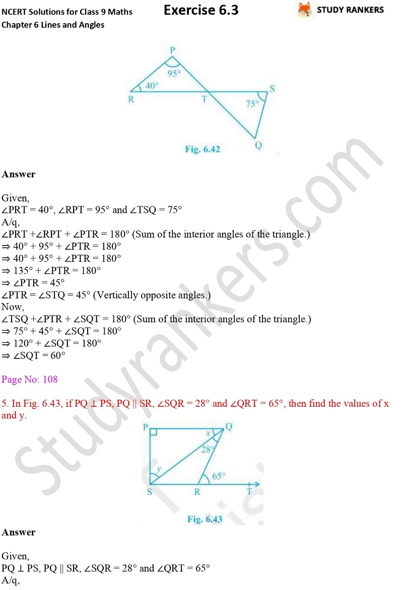 NCERT Solutions for Class 9 Maths Chapter 6 Lines and Angles Exercise 6.3 Part 3