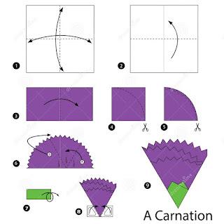 cara membuat bunga carnation dari kertas origami