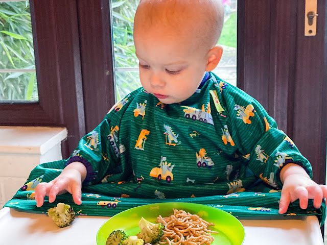 Baby about to pick up some broccoli from his highchair tray. He is wearing a coverall green bib with dinosaurs on from BIBaDo