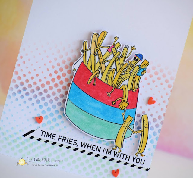 Card using French Fries digital stamp