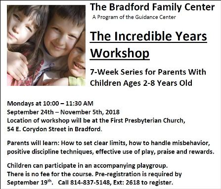 9-24 thru 11-5 The Incredible Years Workshop