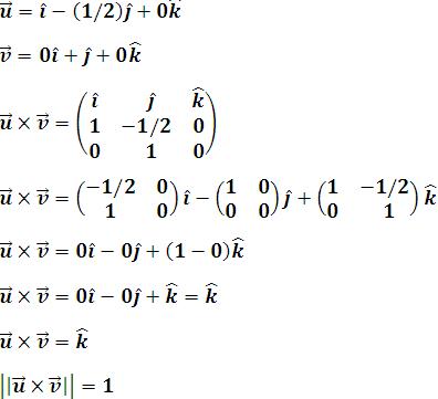 Producto vectorial de u y v