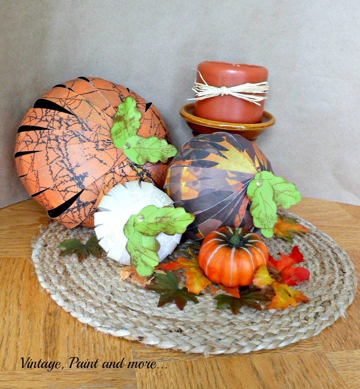 Vintage, Paint and more... Strips of paper used to make some cute pumpkins for fall vignettes