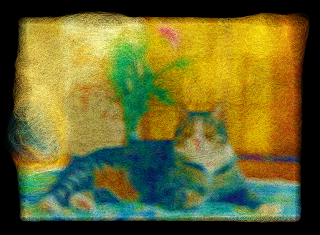 FabriCat makes a photo into the painting that made with felted fabric.