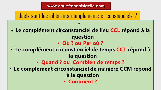 Quels sont les différents compléments circonstanciels ?
