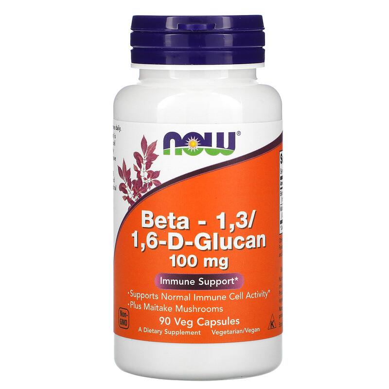 Now Foods, бета-1,3/1,6-D-глюкан, 100 мг, 90 растительных капсул