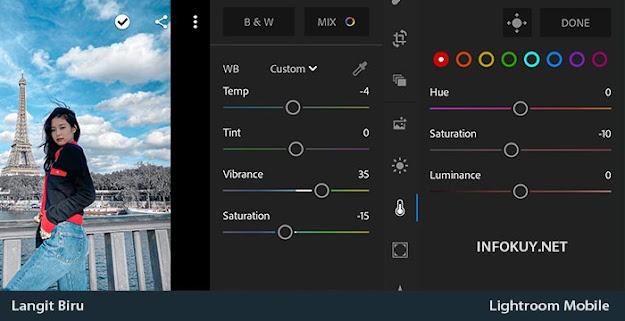 COLOR & MIX - Cara Edit Langit Biru di Lightroom