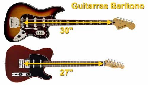 Escala de entre 27 y 30 Pulgadas de las Guitarras Barítono