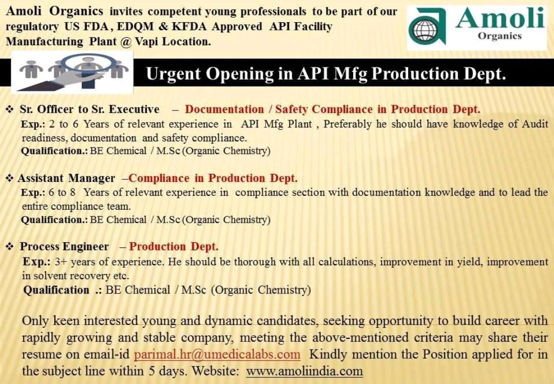 Amoli Organic – Urgently Opening for Production | Apply CV Now