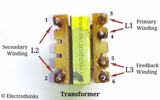 Single transistor Mobile phone charger transformer windings and pinout