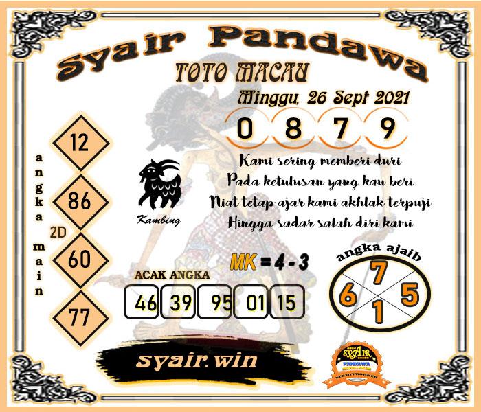 Syair Pandawa Toto Macau Minggu 26 September 2021