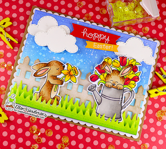 Spring Bunnies Card by Ellen Haxelmans | Hop Into Spring Stamp Set, Fence Die Set, SKy Scene Builder Die Set and Land Borders Die Set by Newton's Nook Designs #newtonsnook #handmade