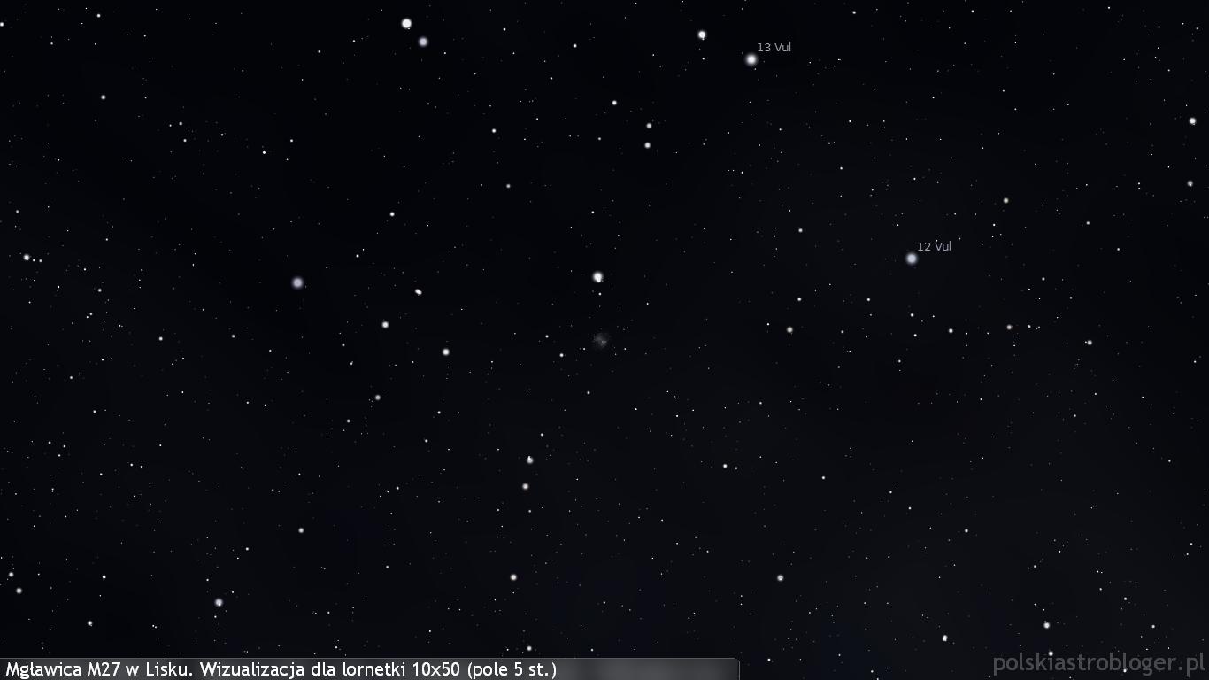 Mgławica M27 (Hantle) w gwiazdozbiorze Liska, widoczna jest w lornetce jako drobna szara plamka pośród gwiazd. Niewielkie teleskopy 70-80 mm pozwolą dostrzec ją już zauważalnie wyraźniej, jest to jeden z najłatwiejszych w odnalezieniu obiektów mgławicowych.