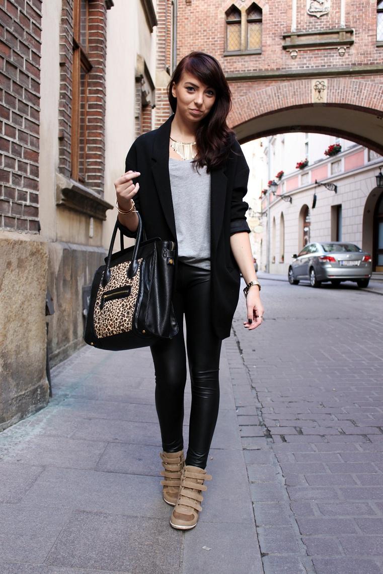 7a19de489f560 wedge sneakers + legginsy + torba w panterkę  ) - Plaamkaa
