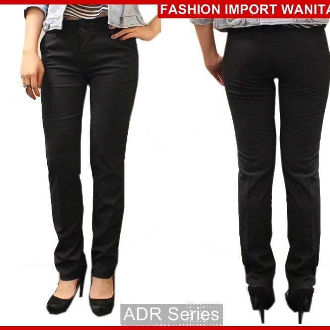 ADR164 Celana Hitam Basic Panjang Wanita Import BMG