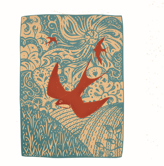 "Kevin McSherry Giclée print. 10"" x 7"". Swallows"