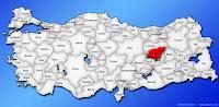 Tunceli ilinin Türkiye haritasında gösterimi