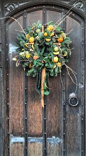 old English door with wreath