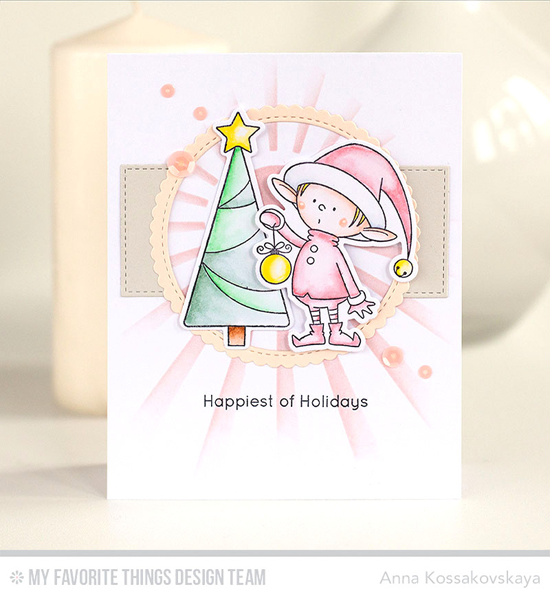 Handmade card from Anna Kossakovskaya featuring Birdie Brown Santa's Elves stamp set and Die-namics, Stitched Circle Scallop Edge Frames and Inside & Out Stitched Rectangle STAX Die-namics, and Sun Ray stencil #mftstamps